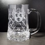 Crystal Tankard with Family Crest Personalised ref CPTC